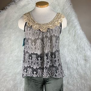 Sheer lace Doily sequin blouse.